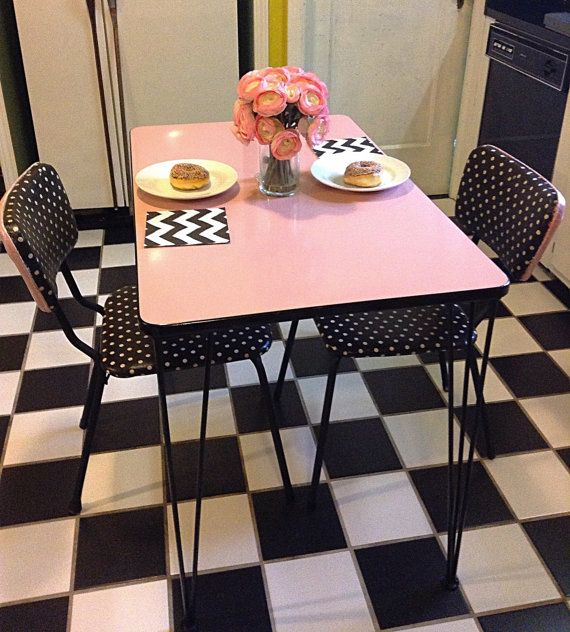 Marvelous 1950u0027s Pink Enamel Top Art Deco Dining Table With By HUEisit