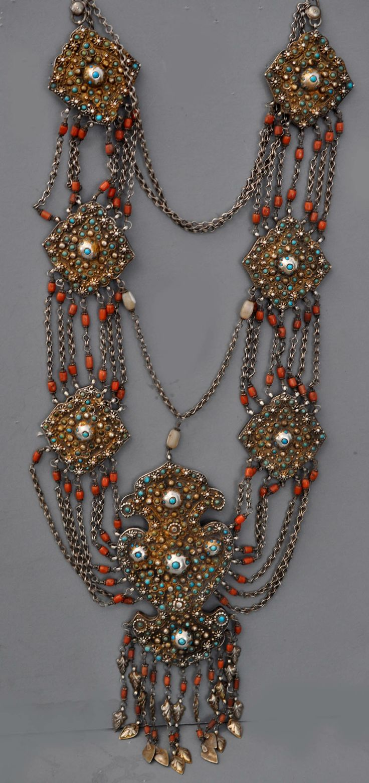 Massive fancy encrusted necklace with set micromosaic turquoise, gilt silver , late 19th c Uzbekistan. (archives sold  Singkiang)