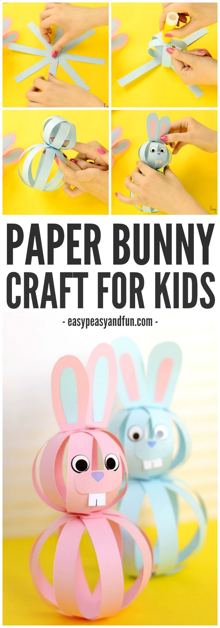 Easy Paper Bunny Craft for kids! Such cute bunnies for spring!