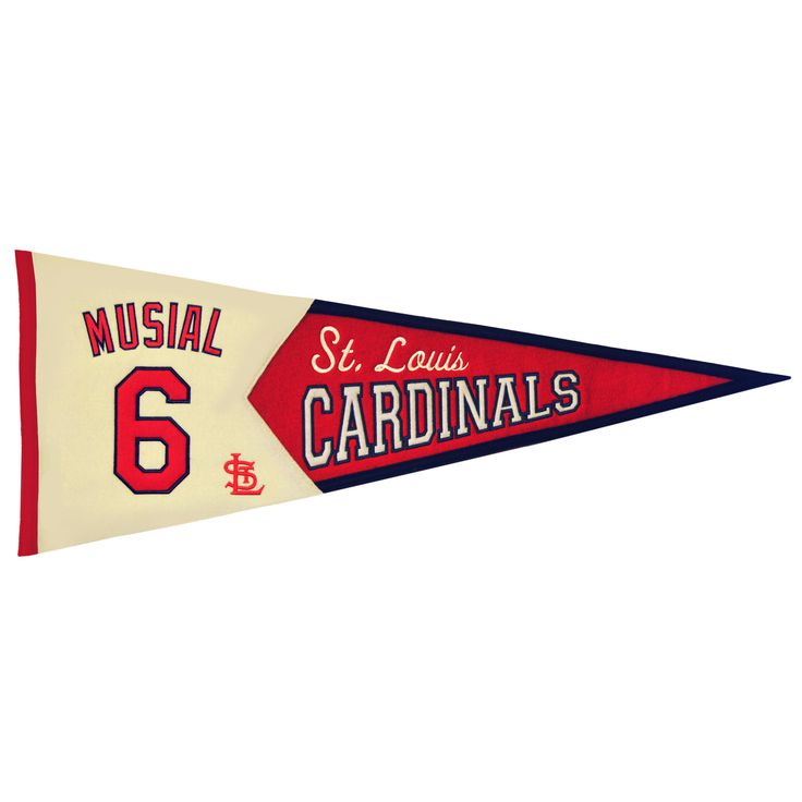 """This beautifully embroidered 32"""" x 13"""" commemorative pennant celebrating the one of the legends of the game - Stan Musial. This detailed wool pennant uses embroidery and applique and highlights his uniforms number and team logo."""