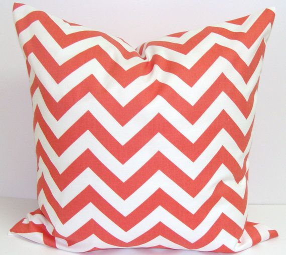 CORAL CHEVRON PILLOW.14x14 inch.Chevron Decorator Pillow Cover.Printed Fabric Front and Back.Chevron.Cushion.Nursery via Etsy