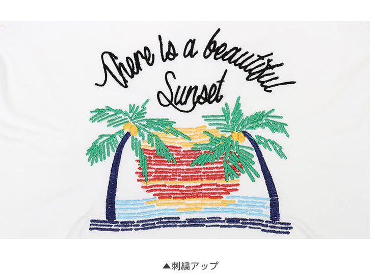 半袖ロゴTシャツ/レディース ヤシの木刺繍design C1557