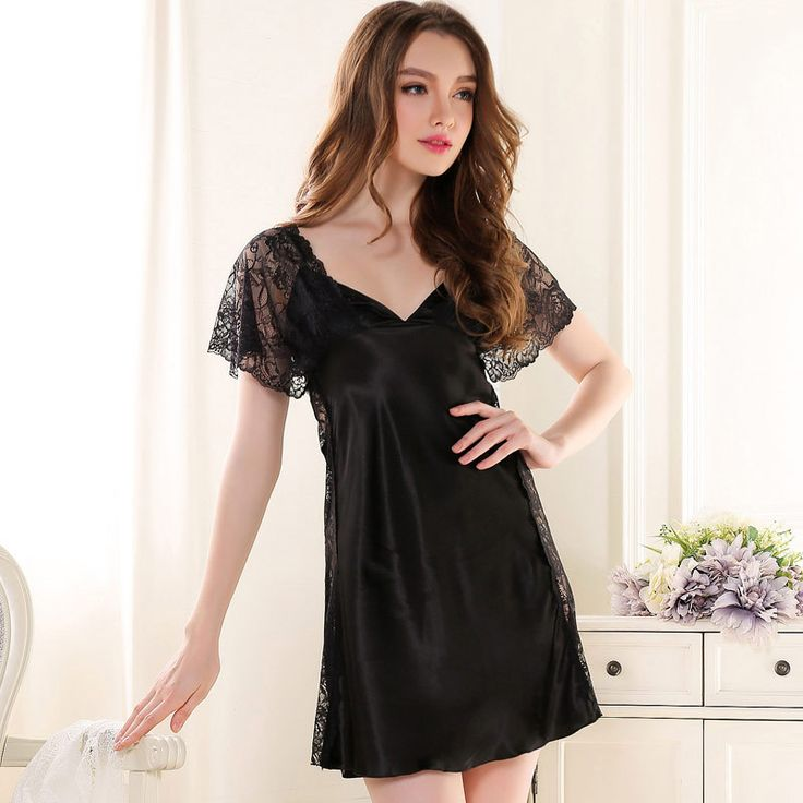 2017 Limited Gecelik Sleepwear Section Of Summer Deep V Sexy Nightgown Short Sleeved Dress Lace Openwork Temptation Perspective
