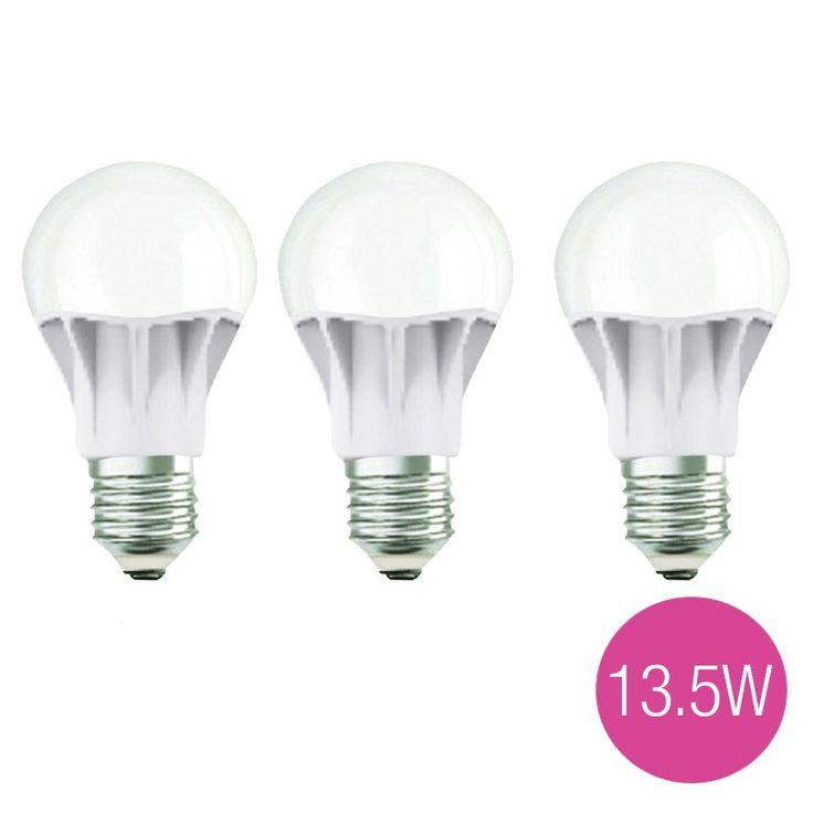 Jual 3 Lampu Bohlam LED OSRAM 13,5 Watt (Pengganti Bohlam Pijar 100 Watt).  Garansi Resmi 1 Tahun.  - Tahan lama hingga 15 tahun - Hemat energi - Tidak mudah panas - Cahaya lebih terang - Setara dengan lampu pijar 100W, fitting E27.  http://lampu.com/lampu-led-bulb-bohlam/1014-jual-3-lampu-bohlam-led-osram-135-watt-pengganti-bohlam-pijar-100-watt.html  #lampuled #bohlam #lampuhematenergi #osram