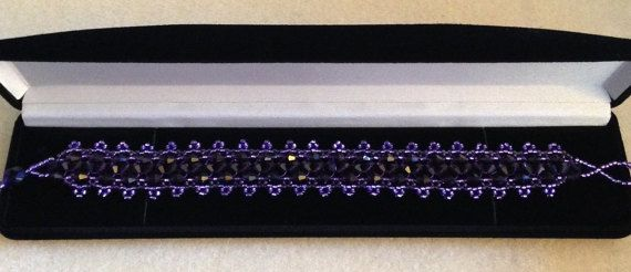 Beautiful Purple Beaded Bracelet made by ForgivenMuse for sale on Etsy.