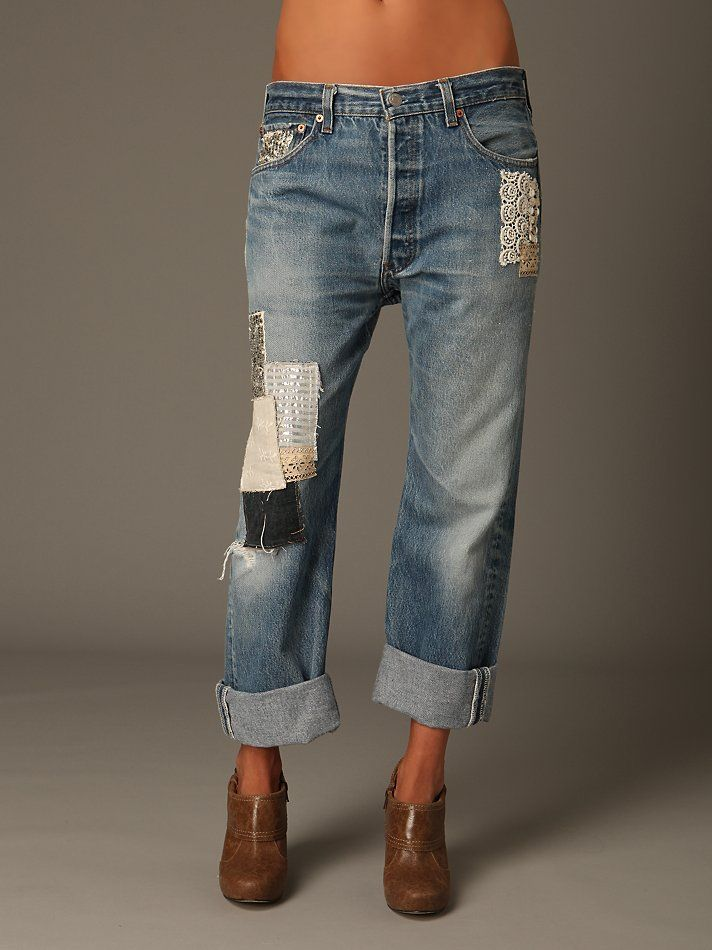 patchwork jeans...I could do this.