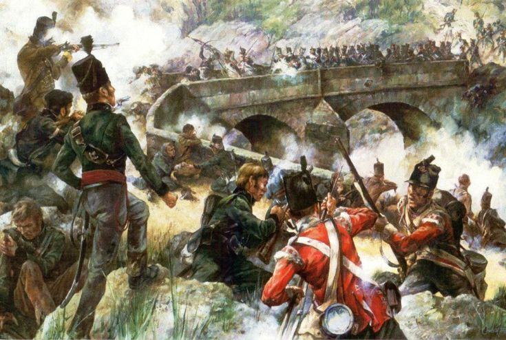 The Light Division repulse the 66th Grenadiers, Coa Bridge, 24th July 1810 during the Peninsular War.