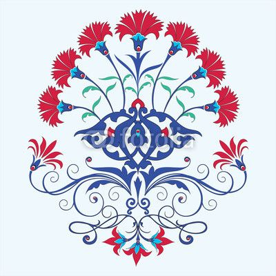 Vector: traditional ottoman carnation chine design