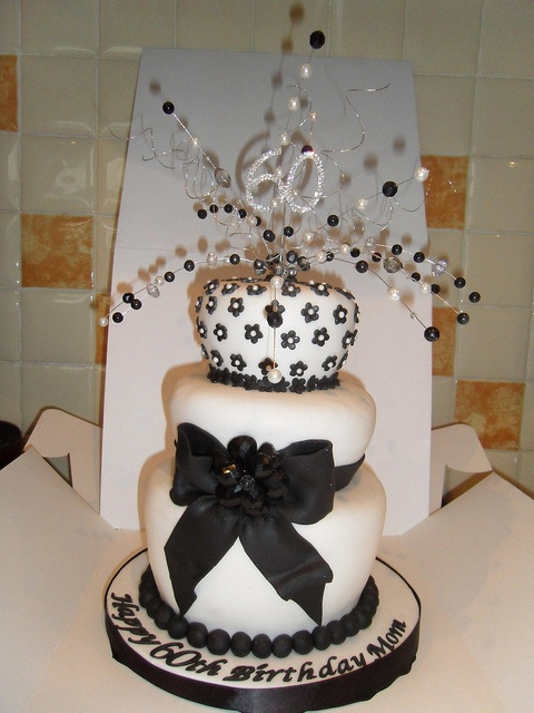 60th birthday cake black and white by shells cakes, via Flickr