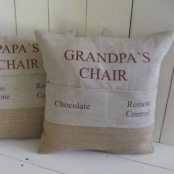 personalised 'grandad's chair' pocket cushion by rustic country crafts | notonthehighstreet.com
