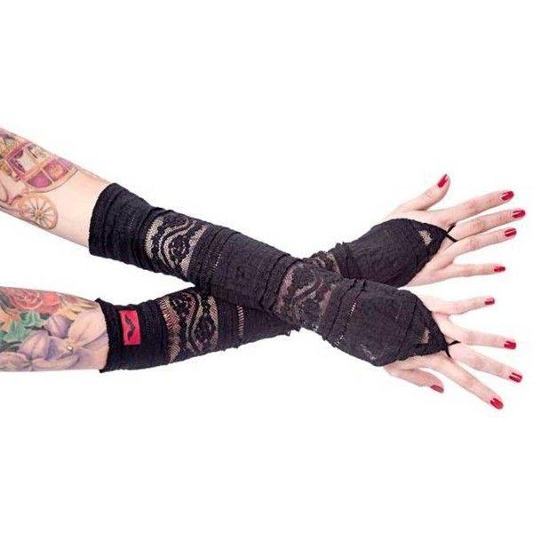 Queen of Darkness Kanten handschoenen met vinger lus zwart Metal Rock... ($16) ❤ liked on Polyvore featuring home, furniture, metal furniture and gothic furniture