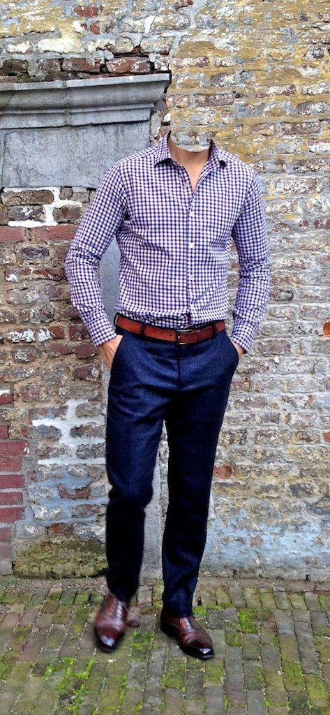 Checkered Shirt Navy Chinos Dark Brown Brogues Gingham