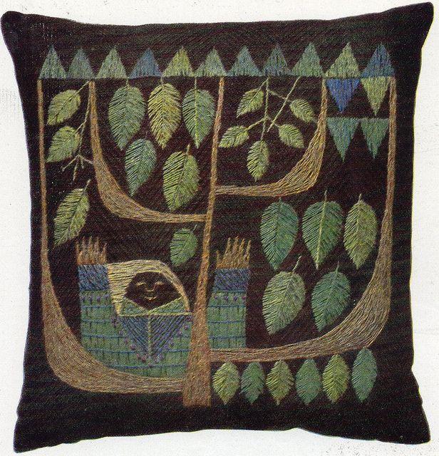 "swedish leaf cushion by elizabethcake, via Flickr from the book ' Hemslöjdens Handarbeten"" by Andra Delen-1950's"