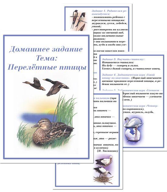 Домашнее задание для детей старшей группы - Перелетные птицы
