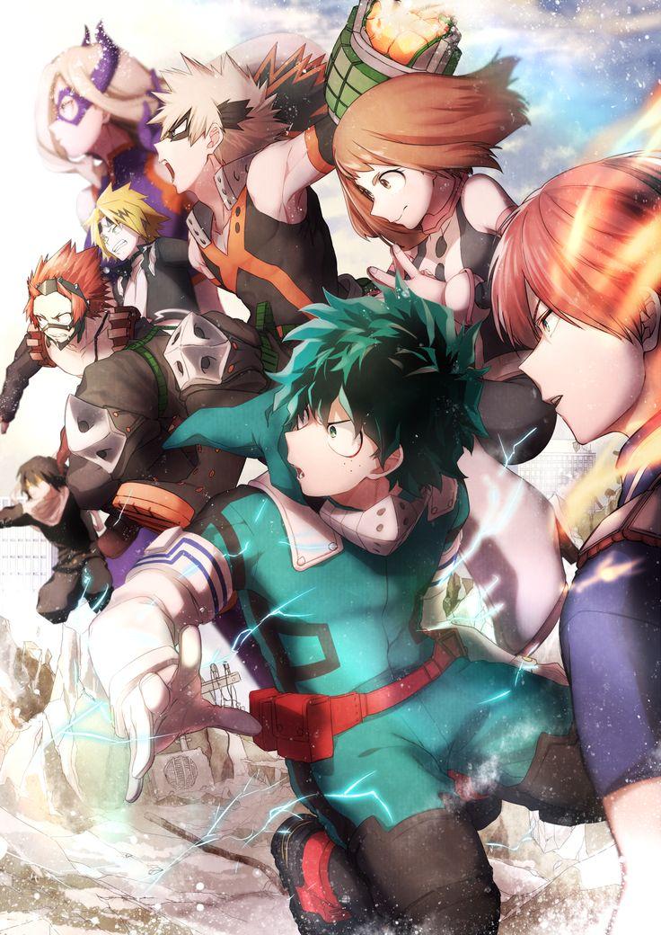 Boku no Hero Academia    Mount Lady, Aizawa Shouta, Kirishima Ejirou, Kaminari Denki, Katsuki Bakugou, Uraraka Ochako, Midoriya Izuku, Todoroki Shouto.