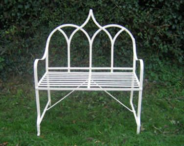 gothic priory style strapwork wrought iron garden bench by pjh designs essex uk