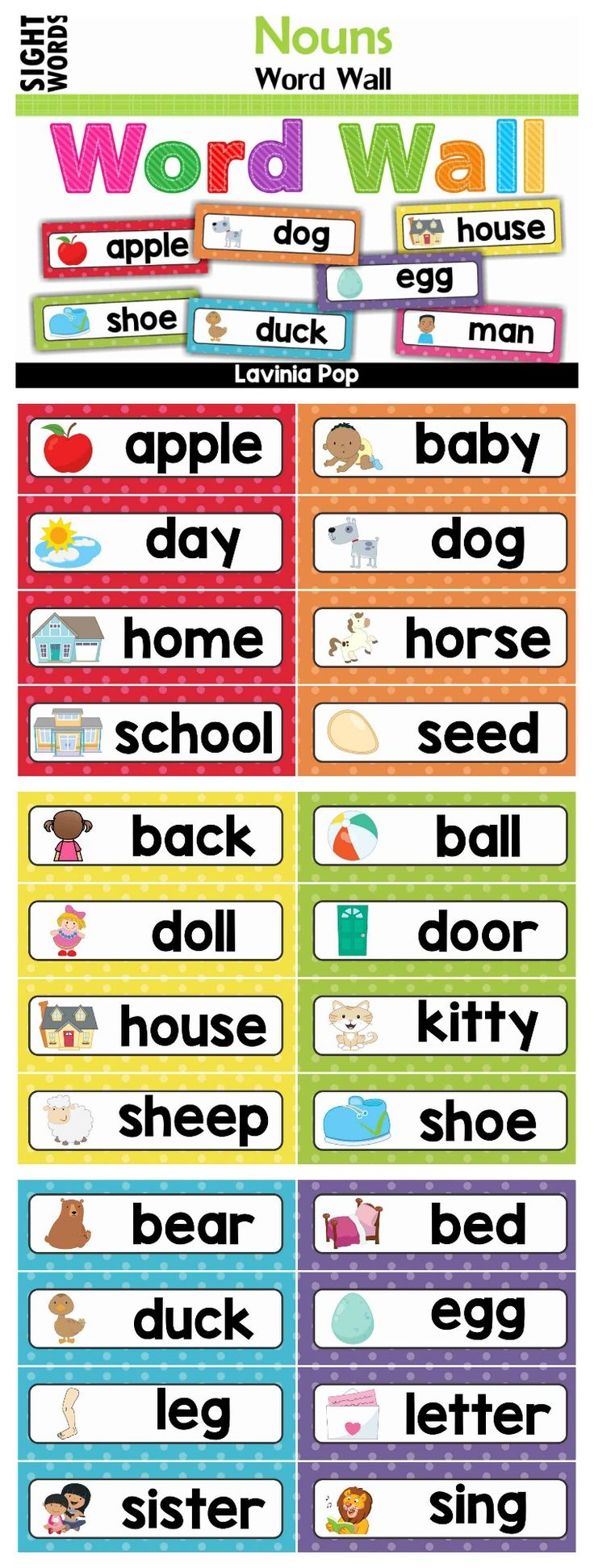 Most Popular Teaching Resources: Sight Words Word Wall (Dolch Nouns)