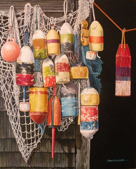 Lobster Trap Buoys and Nets Nautical Seascape Fine Art Limited Edition Custom Framed Giclee Print w/COA Original Oil Painting by Guillemette