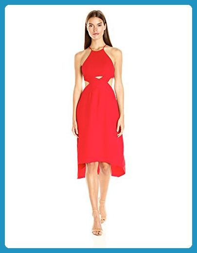 HALSTON HERITAGE Women's Halter Dress with Cut Out Detail, Scarlet, 12 - All about women (*Amazon Partner-Link)