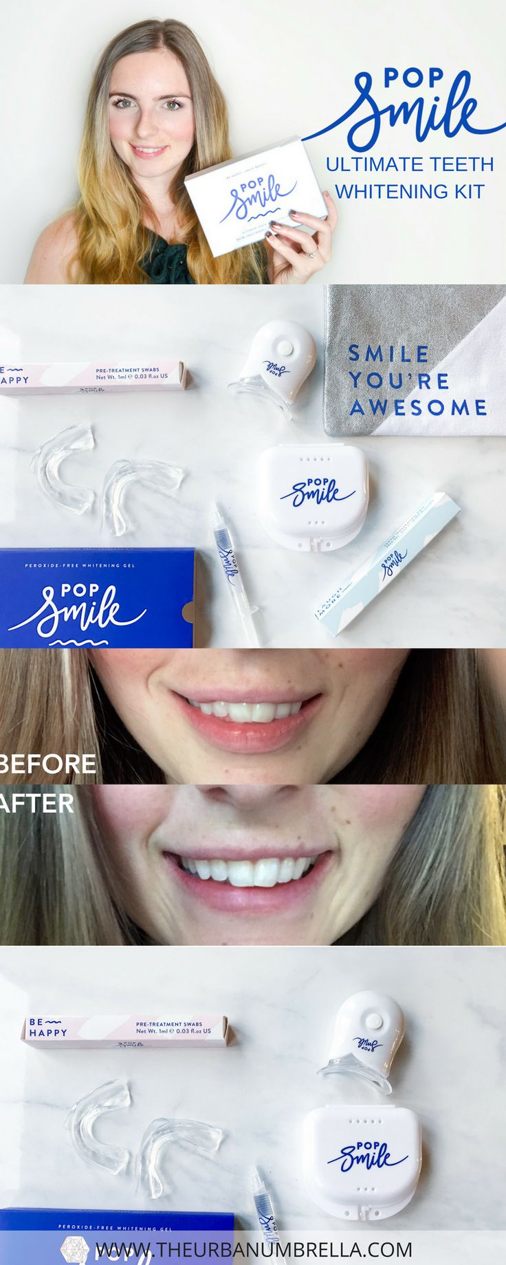 Whitening my Teeth with Pop Smile's Ultimate Teeth Whitening Kit