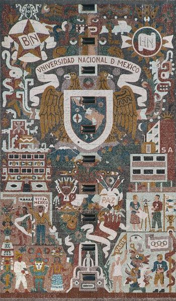 """Mosaic Murals of the UNAM Central Library"" by Katherine Krantz. Information and examples of the central library mural at UNAM."