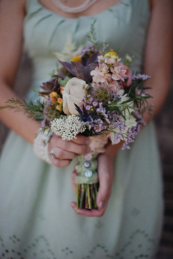 Wild flower bouquet photographed by Anda Marie Photography This as a bridesmaid's dress