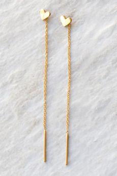Gold Heart Chain Thread Earrings | Chan Luu $63