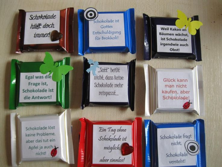 Hallo zusammen :) Heute möchte ich euch eine wortwörtlich SÜßE Verpackung für eure Schokolade vorstellen. Mit diesen lustigen Sprüchen verziert, macht das Essen doch gleich viel mehr Spaß oder? HIE…