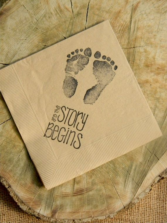 The Story Begins Baby Shower Footprints Light Burlap Cocktail Napkins Gender Neutral Baby Girl or Baby Boy- Set of 50