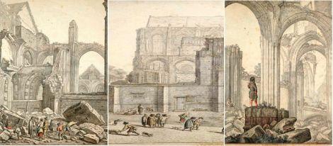 Impressies getekend door Herman Saftleven van het ingestorte schip van de Domkerk na de tornado van 1674. Beeld: Utrechts Archief