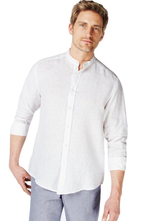 Blue harbour pure linen grandad collar shirt marks Mens grandad collar shirt