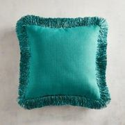There's a party on your sofa, and our pillow is the life of it. Celebrate softness and comfort in a shimmering teal with flashy fringe. This pillow makes your sofa the perfect place to crash for a pizza party, movie marathon or cozy catnap.