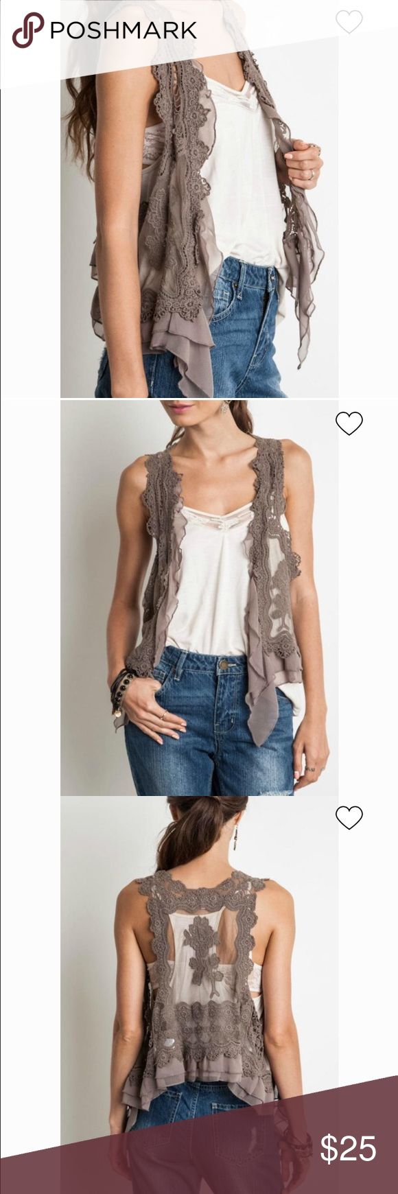 Mocha Crochet Lace Vest Umgee crochet lace vest. Lace and ruffle vest that hits below the waist. The back is sheer with lace. Brand new. Size small Umgee Other