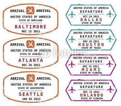 Passport stamps, US destinations