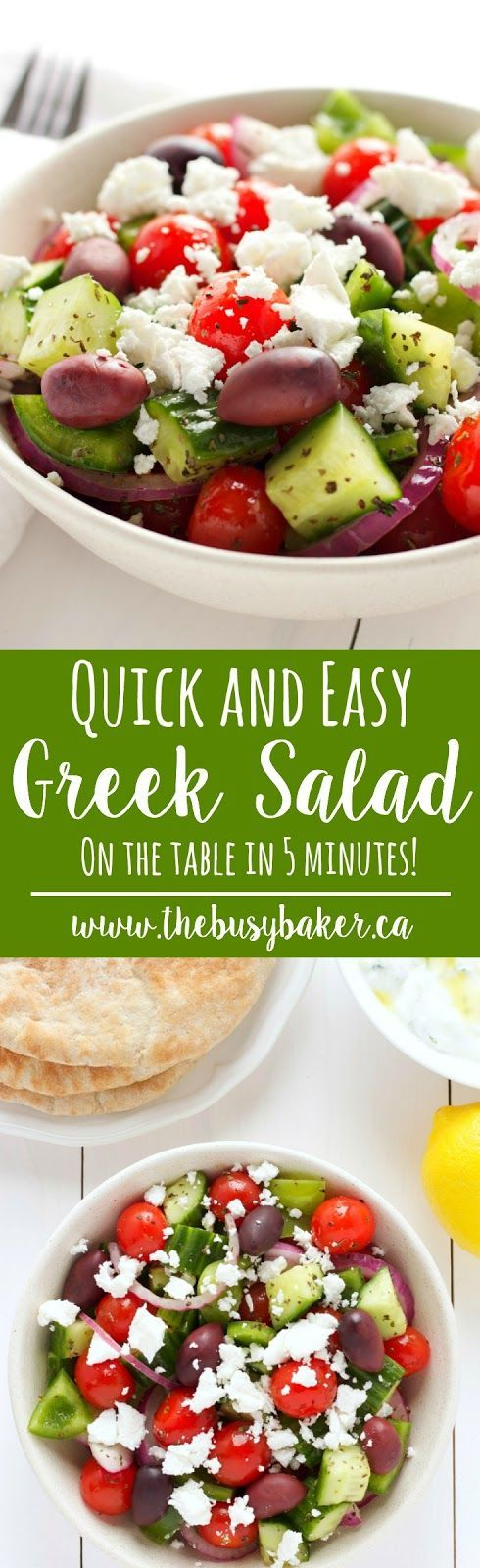 The perfect Easy Greek Salad for your 4th of July Barbecue! www.thebusybaker.ca
