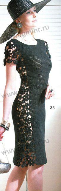 Вязаное черное платье крючком. (Описание + схемы + выкройка). Обсуждение на…