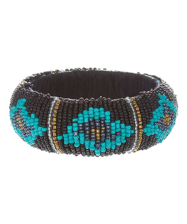 Look at this Black & Blue Geometric Beaded Bangle on #zulily today!