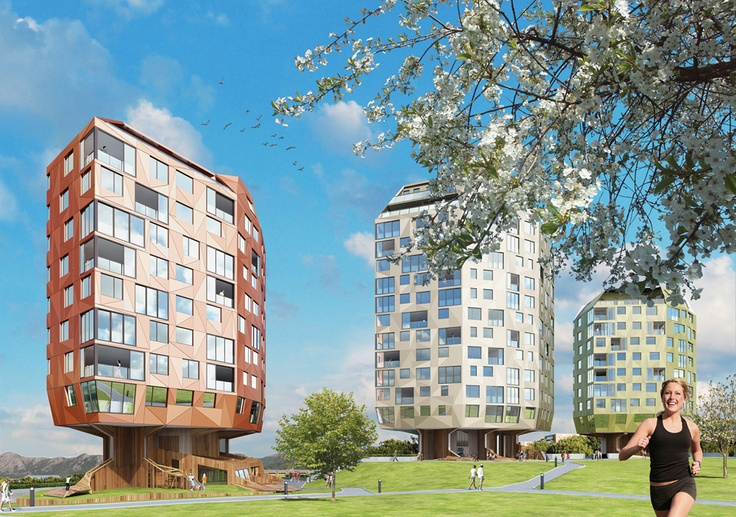 Rundeskogen - The Tre Taarn (Three Towers) project in Sandnes, Norway; includes 3 buildings, 12-15 stories tall, that resemble trees ('roots' and all);  under construction;  designed by Helen & Hard