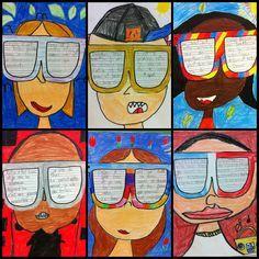 """""""Je vois""""- Projet d'art et d'écriture, 2e année, canevas photocopié pour les lunettes, cartons blancs et crayons de bois de couleurs pour le reste, techniques dessin (proportions du visage, couleurs et caricatures)."""