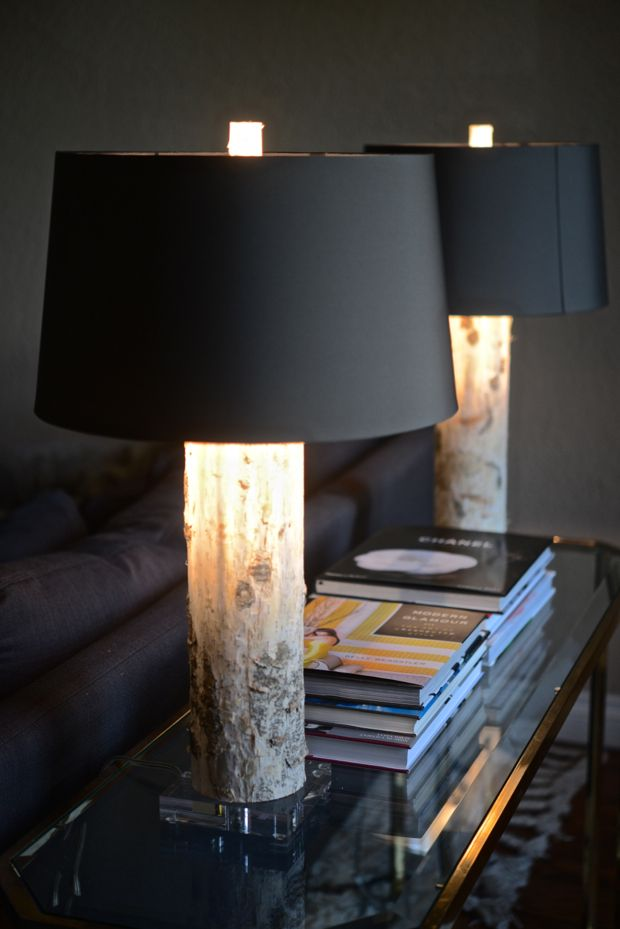 birch lamps with opaque shades - light is focused upward and downward, not out through the shade.