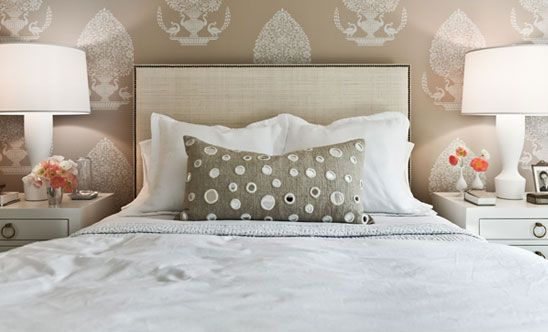 bed, light, great idea of stencil over color