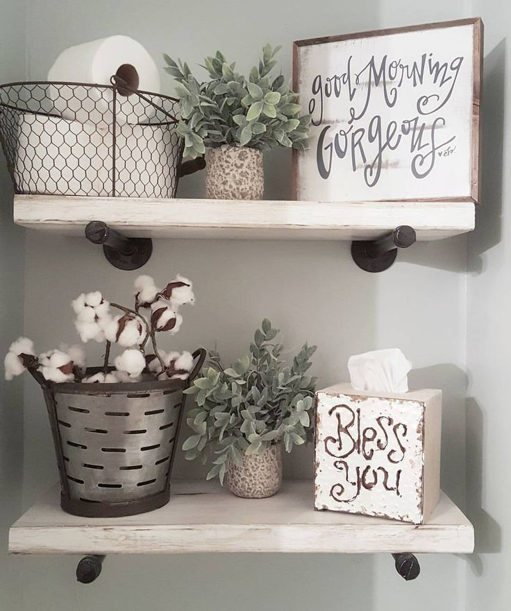Organize above the toilet   cute farmhouse decor and organization with  shelving in the bathroom. 370 best images about Vintage Rustic Country Home Decorating Ideas