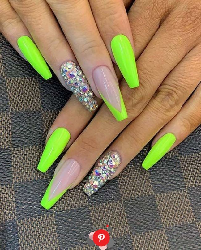 43 Neon Nail Designs That Are Perfect For Summer Neon Nail Designs Neon Green Nails Green Nails 43 Neon In 2020 Green Acrylic Nails Neon Nail Designs Neon Nails