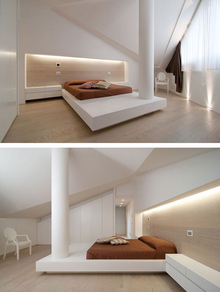 A Bedroom In This Italian Home Has A Column In The Middle