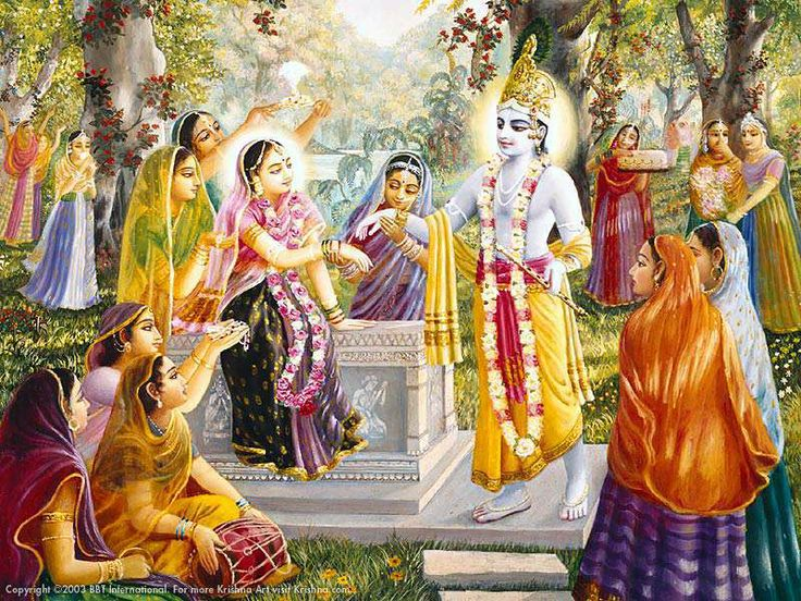 Krishna with Gopis and Radha