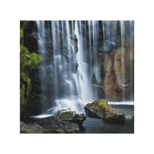 Idaho In #Waterfall Stretched Canvas Prints  #golden retriever   #art