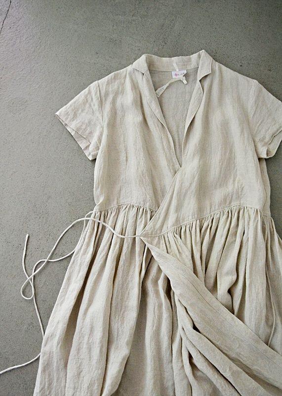 White linen wrap dress.