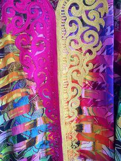 Arc-en-ciel de soie brodé robe longue caftan par ArabianThreads