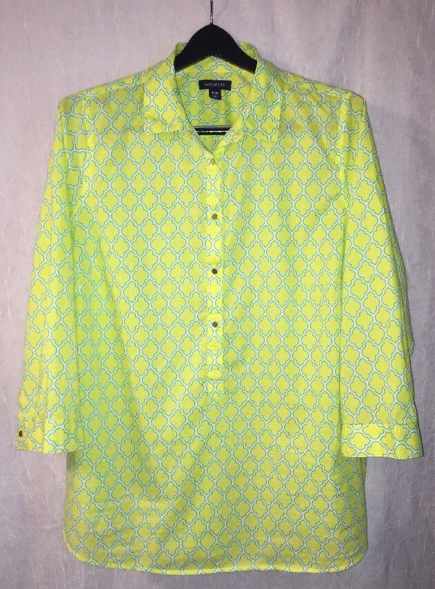 51e16d398d1 LANDS  END Plus Size 18W Blouse 3 4 Sleeve Lime Yellow Cotton Tunic Top