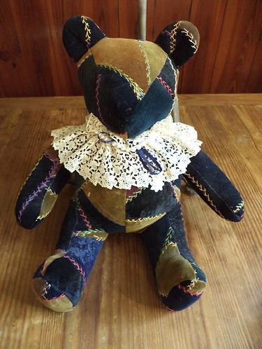 Excellent Hand Made Antique Velvet Crazy Quilt Teddy Bear, Adorable, VGC | eBay
